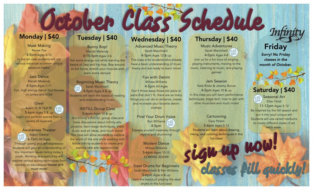October and November Classes- Now Open for Enrollment - Infinity